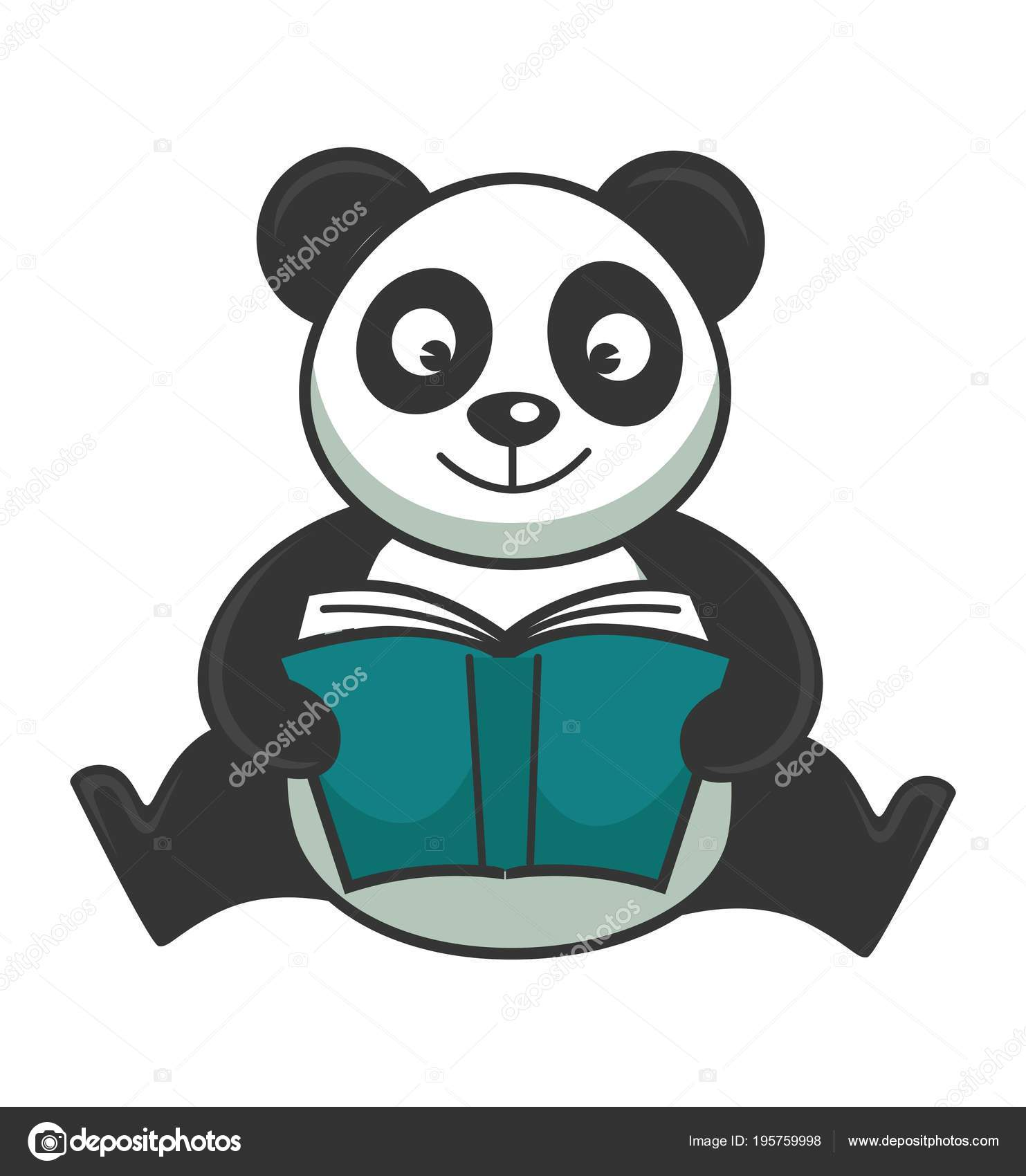 Ours Panda Mignon Est Assis Lit Livre Couverture Rigide Bleue