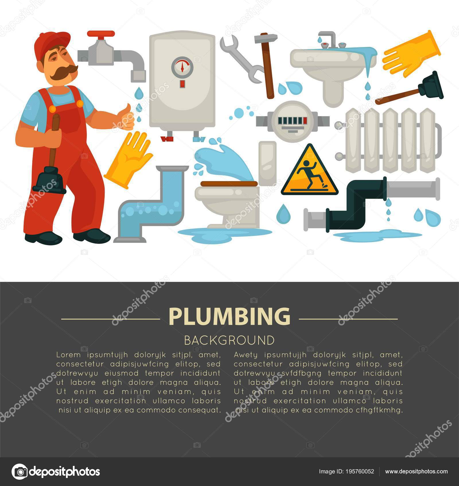 Haus Sanitär Service Plakat Der Klempner Arbeiten Werkzeuge Symbole ...