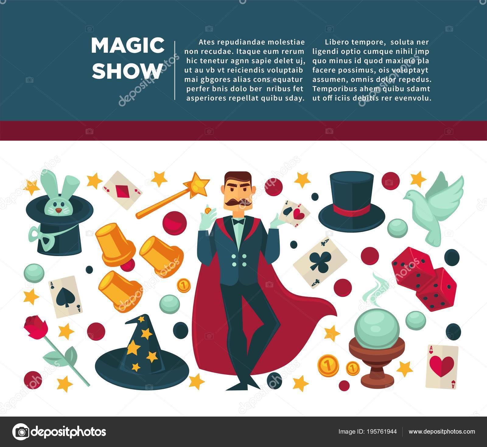 Magic show y mago trucos equipo cartel. Iconos planos vectoriales de circo  hombre ilusionista o mago en manto de prestidigitador con varita mágica b27c3cf8330