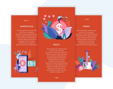 Online business cryptocurrency marketplace profit and mining web pages templates vector virtual money and cash transactions and stock exchange earning and online business Internet site mockup