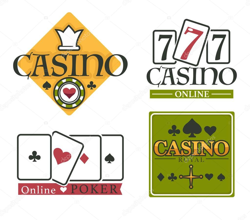 Gambling Casino Club Isolated Icons Poker Chips And Play Cards Vector Blackjack Game And Roulette Wheel With Money Stakes And Betting Risk And Luck Playing And Gamble Online Service Emblems Premium