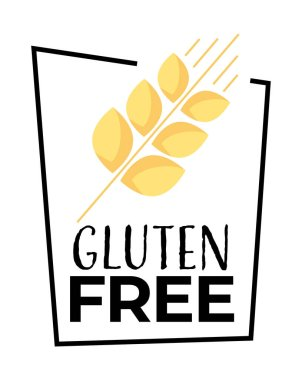 Gluten free label isolated vector icon, no wheat symbol template. Organic dietary food, package or dietetic product nutrition sign. Ripe golden spike, lettering and frame, snack sticker or badge icon
