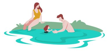 Family in pool, river or lake, summer recreation on nature