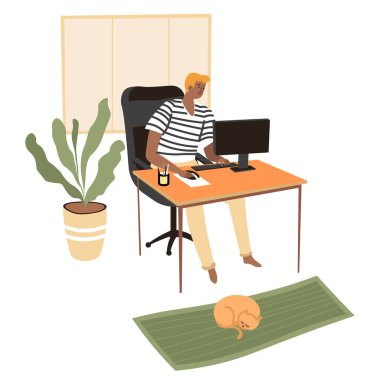 Student preparing for exams for classes using online courses, freelancer working from home. Distant worker using personal computer to complete tasks. Male character with cat pet, vector in flat
