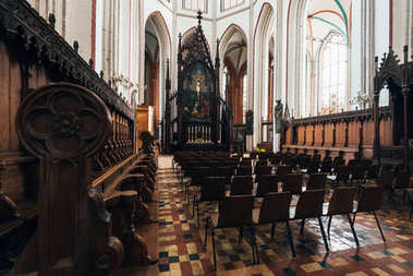 Schwerin, Germany - Sept 17, 2017: View of the altar in the Schwerin Cathedral. The proto-cathedral is now the church of the Bishop of the Evangelical Lutheran State Church of Mecklenburg.