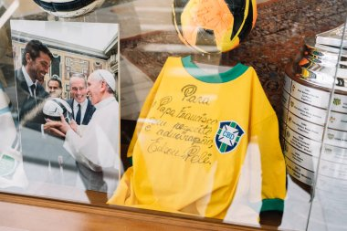 Rome, Italy - Jan 3, 2020: Pele Signed Autographed shirt Brazil gift for Pope Francis Inside the Vatican Museum. Vatican, Rome, Italy.