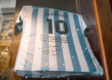 Rome, Italy - Jan 3, 2020: Maradona Signed Autographed shirt Argentina gift for Pope Francis Inside the Vatican Museum. Vatican, Rome, Italy.