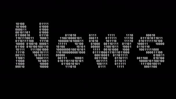 Zprávy. Binární kód na obrazovce. Záznam ze smyčky. Ilustrace.