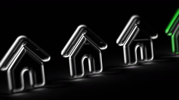Ikona domu na černém pozadí. Záznam ze smyčky. 3D ilustrace.
