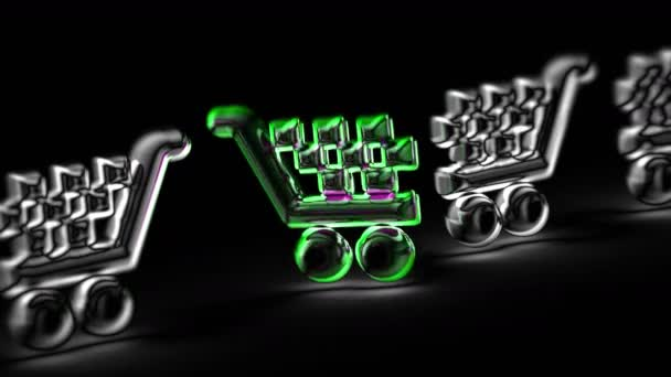 Sell icon in black background. Looping footage. 3D Illustration.