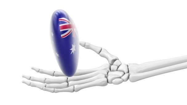 Flag of Australia on the heart. Looping footage. 3D Illustration.