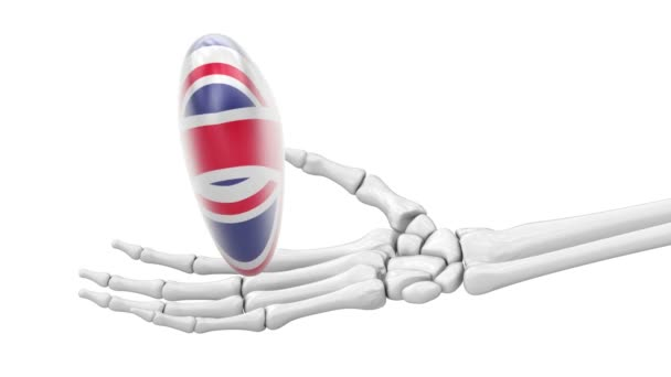 Flag of Britain on the heart. Looping footage. 3D Illustration.