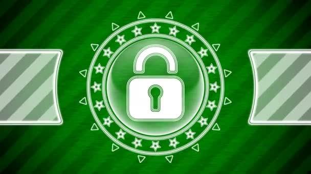 Lock ikon kör alakú és zöld csíkos háttér. Illusztráció.