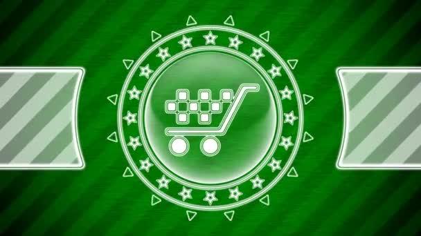 Ikona prodeje v kruhovém tvaru a zeleně pruhované pozadí. Ilustrace.