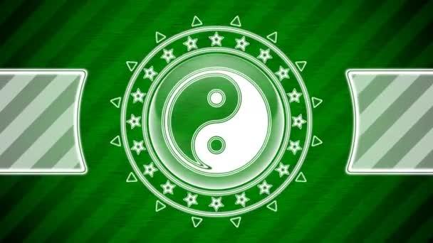 Ying-Yang ikona v kruhu tvaru a zeleně pruhované pozadí. Ilustrace.