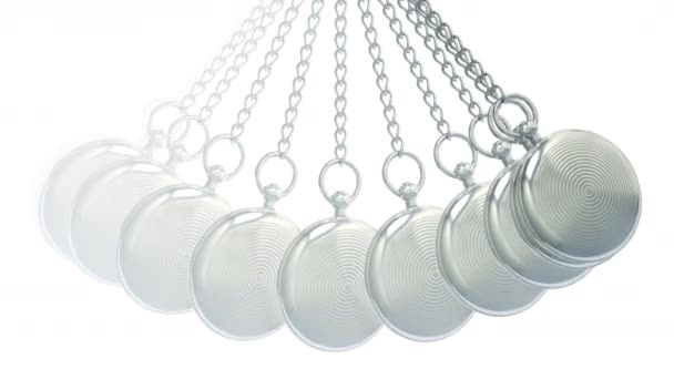 Pocket watch in white background. Looping footage. 3D Illustration.