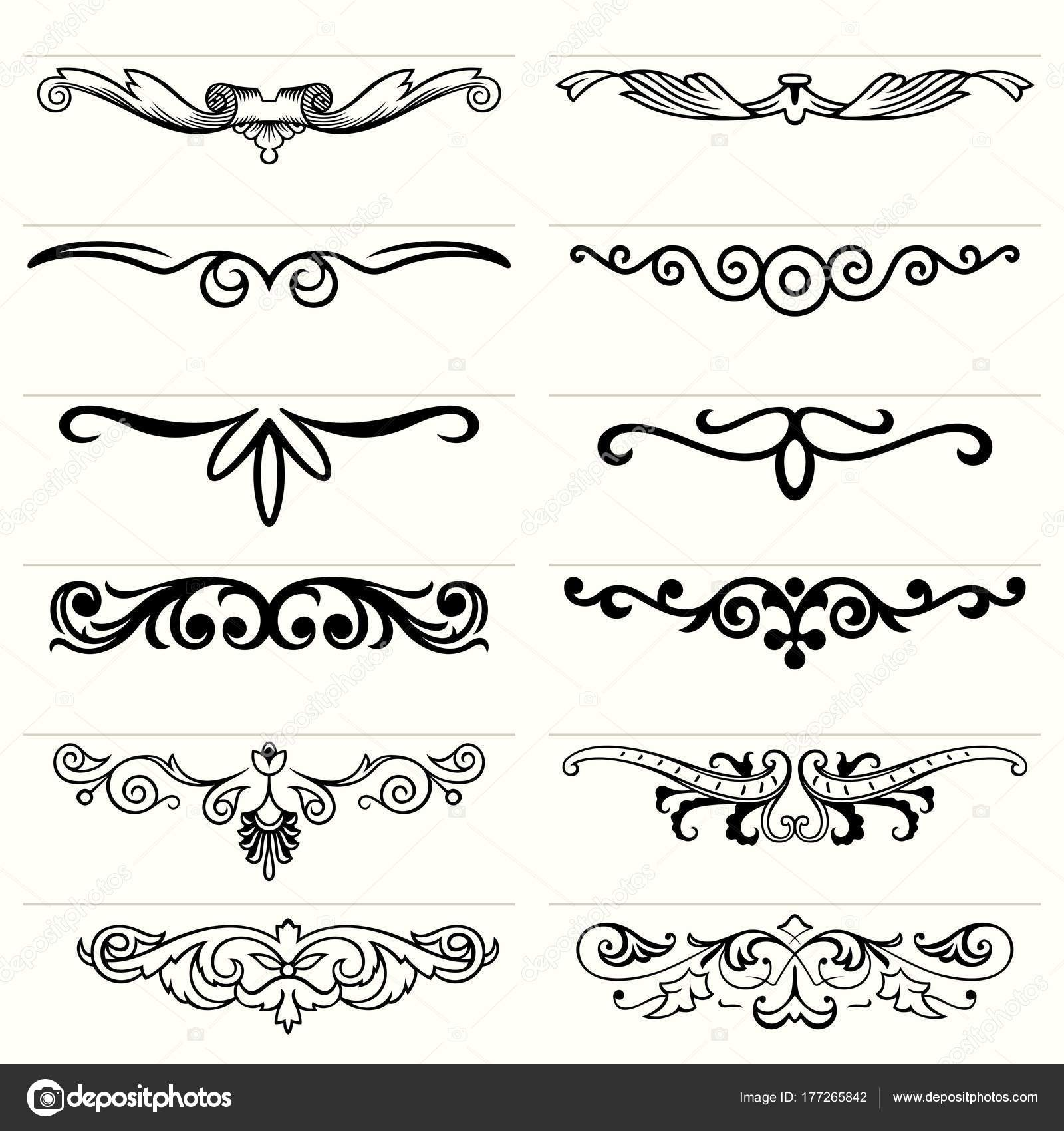 Set Twelve Decorative Floral Elements Stock Vector C Den Barbulat