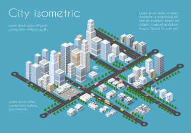 Transportation 3D city streets intersection with houses and trees. Isometric view from above on a city transport clip art vector