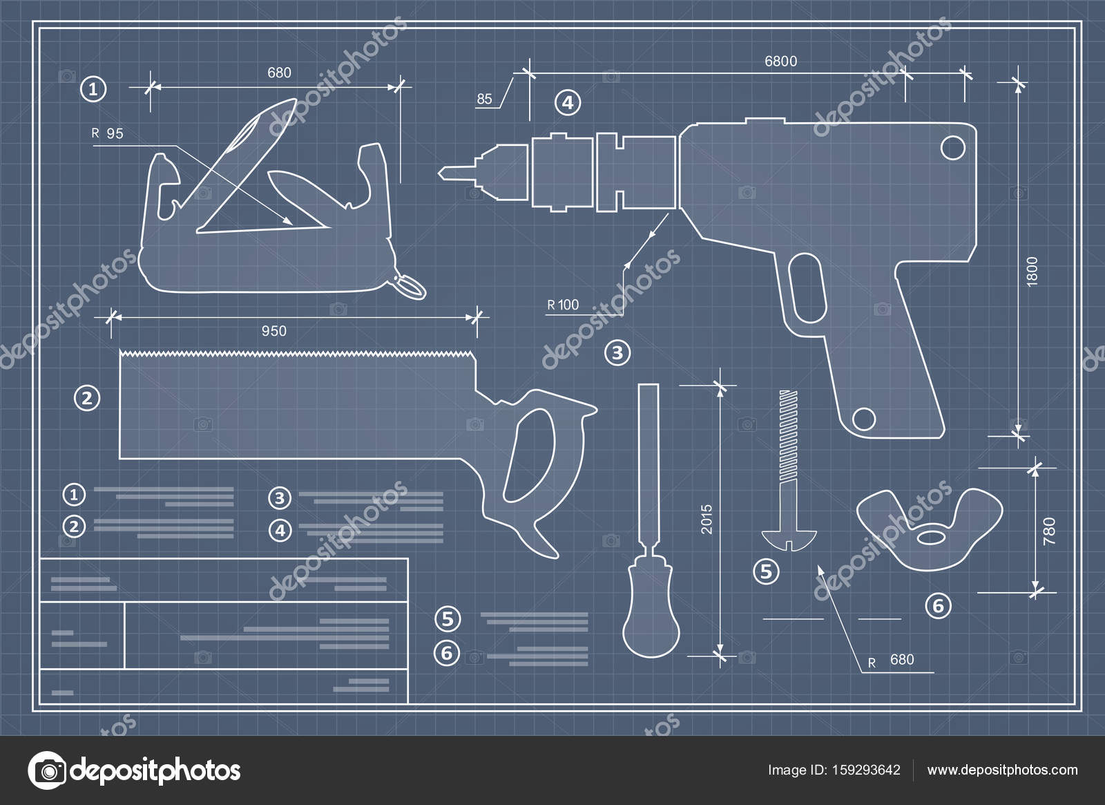 Blueprint building tool stock vector alexzel21 159293642 blueprint building tool set drawing plan layout of industrial and home instrument for construction and repair vector by alexzel21 malvernweather Image collections