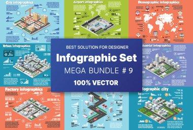 Isometric set infographics concept of blocks