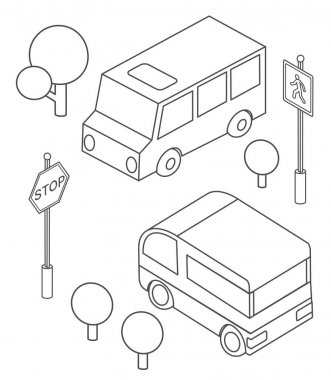Isometric bus urban infrastructure cars and buses