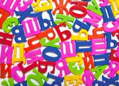 Bright colored plastic letters of the Russian alphabet