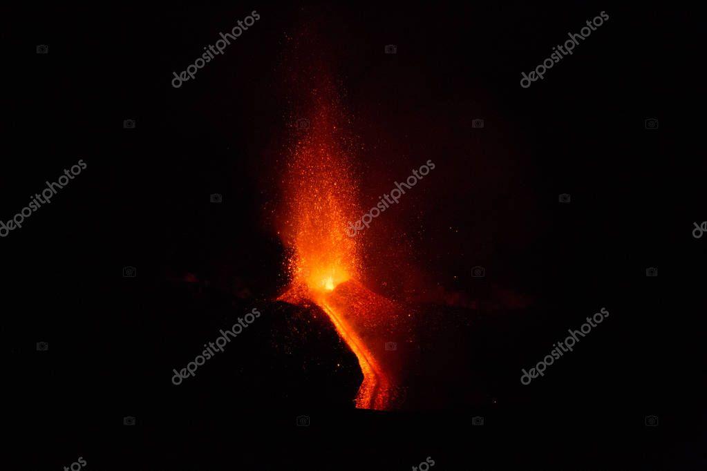 Eruption of Volcano Etna in Sicily