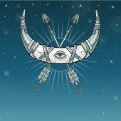 Mágia kürt egy félhold, a Hold, a fém páncél. A keresztezett vas nyilak. Mindent látó szem. Indiai motívumok, Boho design. Háttér - a csillagos ég. Vektoros illusztráció