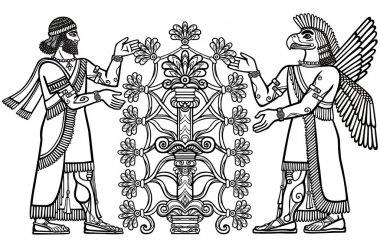 The silhouette of Assyrian deities collects fruits from a fantastic tree. Character of Sumerian mythology. Linear drawing isolated on a white background. Vector illustration, be used for coloring book.
