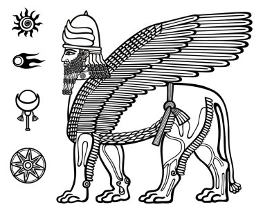 Image of the Assyrian mythical deity of Shedu: a winged lion with the head of the person. Character of Sumer mythology. Set of space solar symbols. Black-and-white vector illustration.