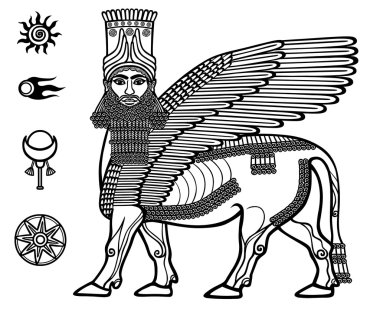 Image of the Assyrian mythical deity Shedu: a winged bull with the head of the person. Character of Sumer mythology. Set of space solar symbols. Black-and-white vector illustration.