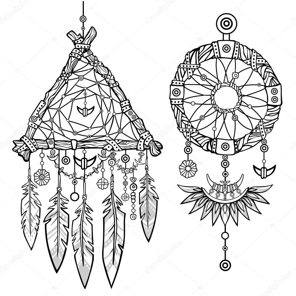 round and triangular dreamcatcher native american indian talisman