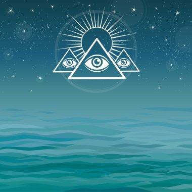 Underwater pyramids. Bermuda Triangle. Mystical symbol on a sea background.
