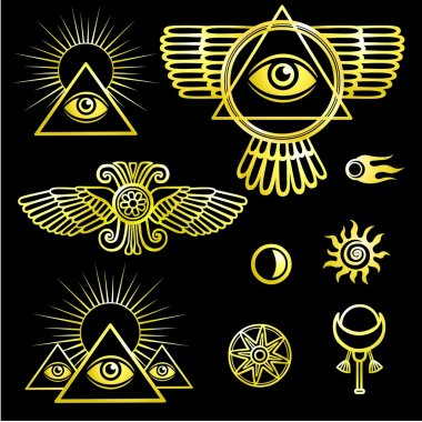 Set of esoteric symbols: wings, pyramid, eye, moon, sun, comet, star. The isolated golden contour on a black background.