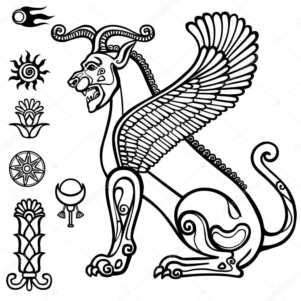Persepolis stock vectors royalty free persepolis illustrations image of assyrian winged animal horned lion character of sumerian mythology set of biocorpaavc Images