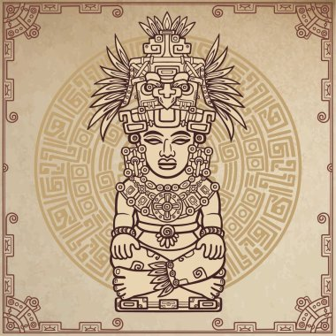 Linear drawing: decorative image of an ancient Indian deity. Magic circle. A background - imitation of old paper. Vector illustration.