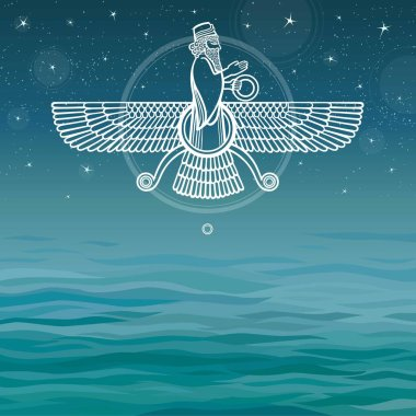 Vector illustration: mythical Assyrian man. Sea background.