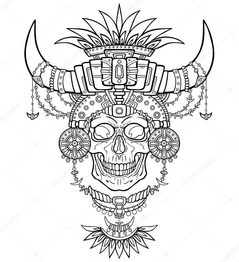 Momia del chamán, cráneo humano en ropa mágica con cuernos de ...
