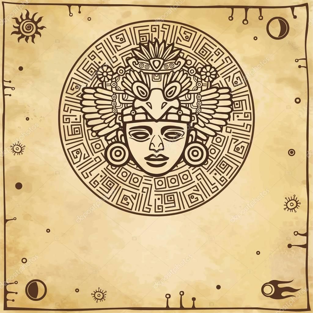 Linear drawing decorative image of an ancient indian deity space linear drawing decorative image of an ancient indian deity space symbols a background buycottarizona Choice Image