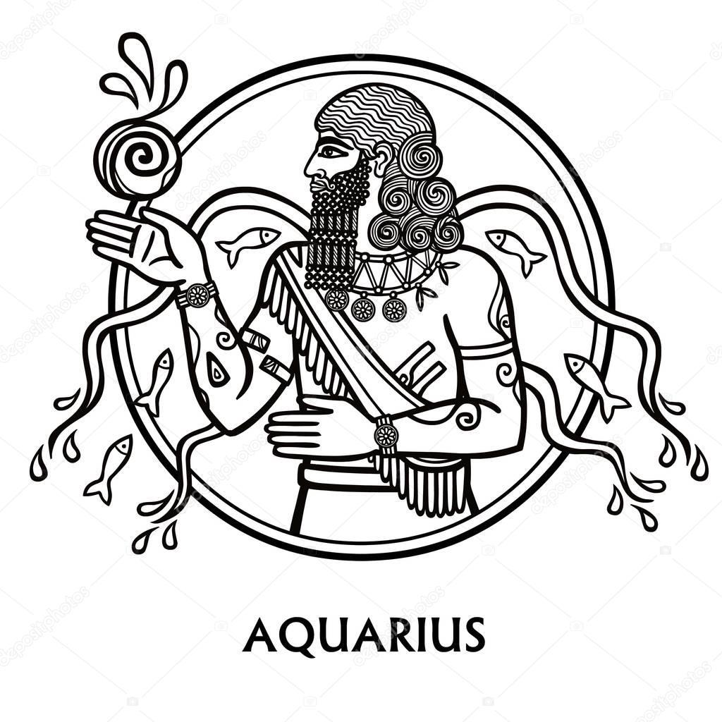 Disegno Acquario Segno Zodiacale.Vettore Disegno Segno Zodiacale Acquario Segno Zodiacale