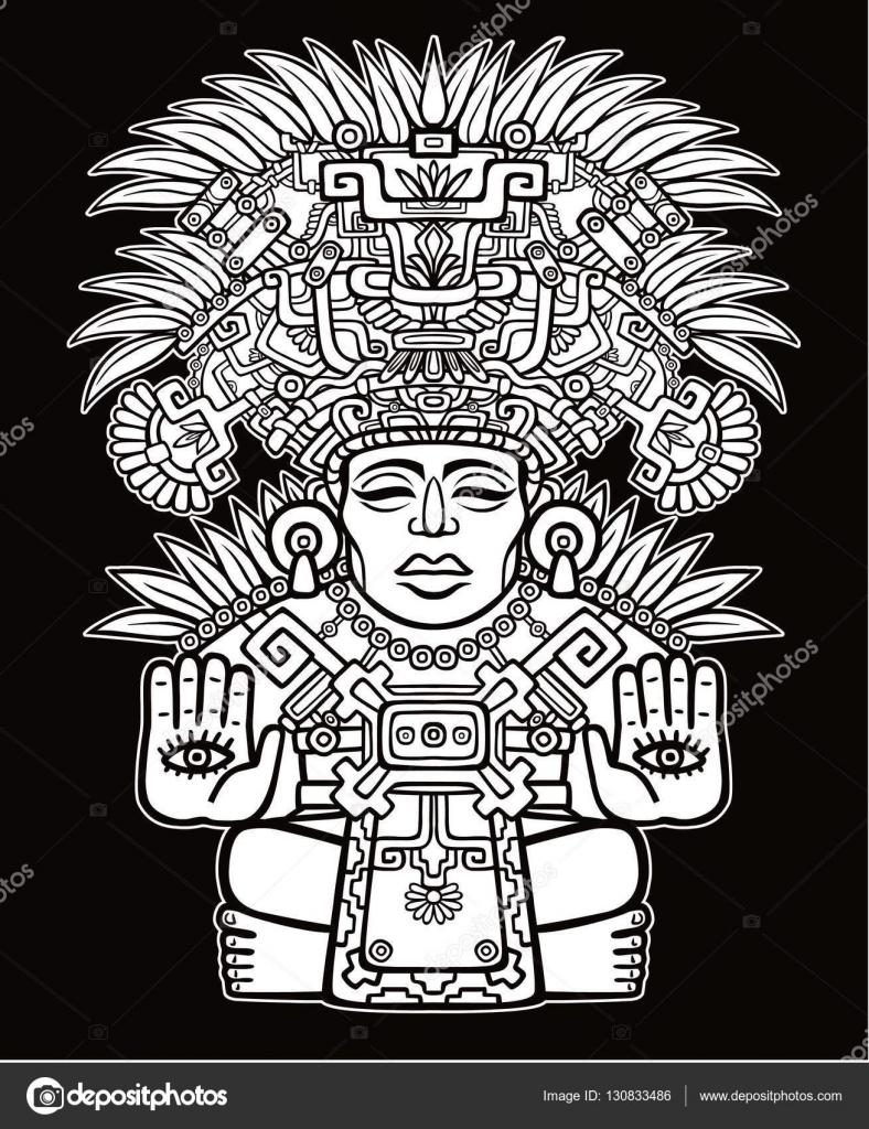 Imagen decorativa de una deidad India antigua. Motivos del arte ...