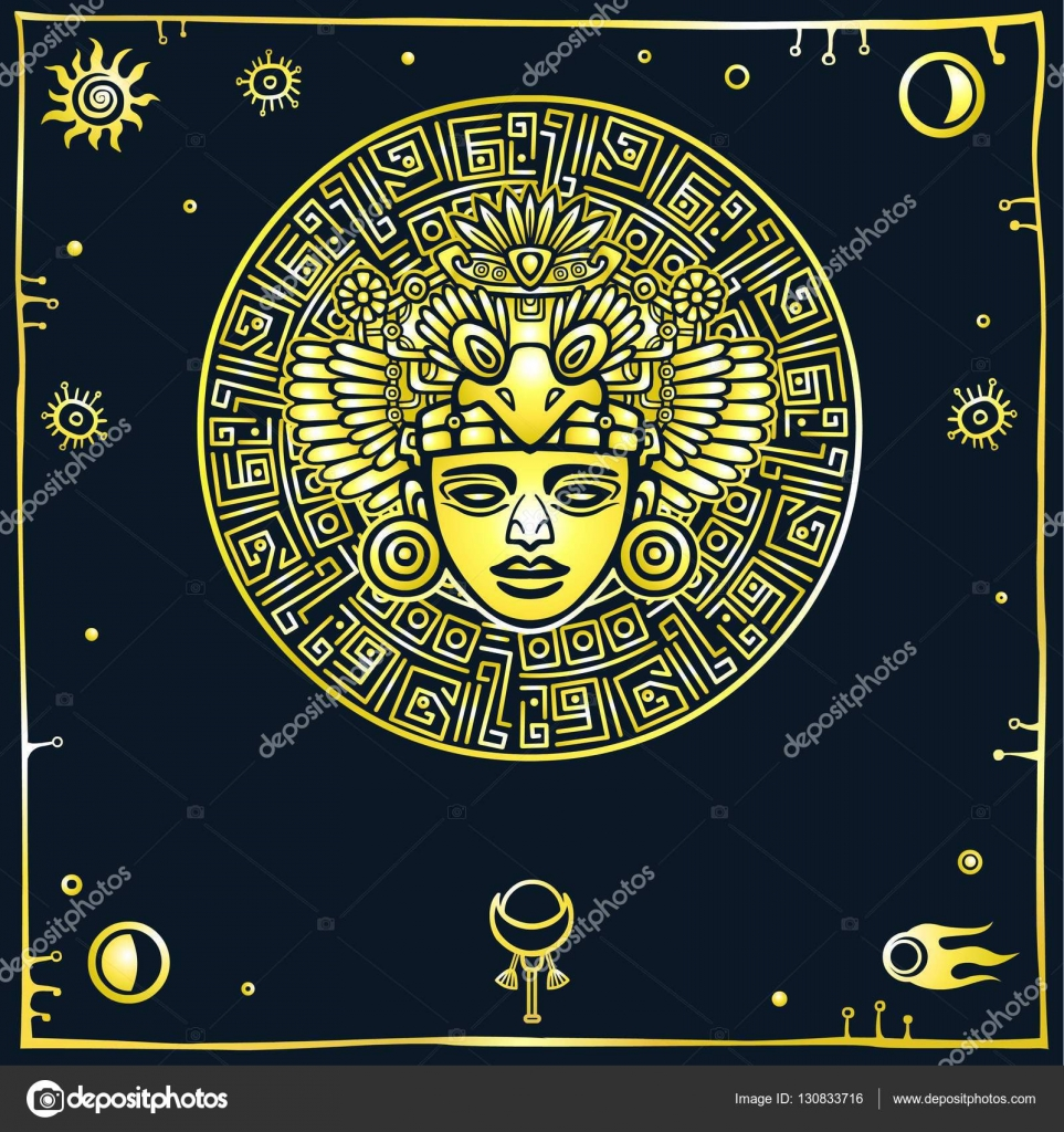 Linear drawing decorative image of an ancient indian deity space linear drawing decorative image of an ancient indian deity space symbols gold imitation buycottarizona Choice Image
