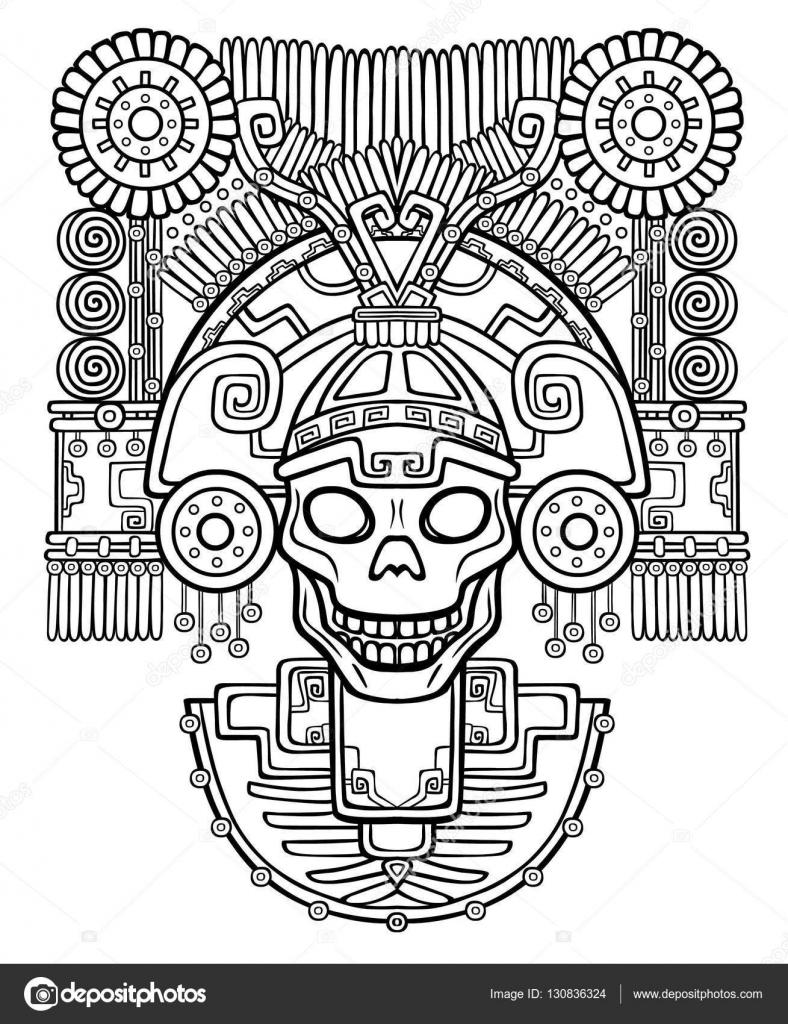 stylized skull pagan god of death motives of art native american