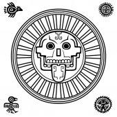 Fotografia Teschio stilizzato. Dio pagano della morte. Motivi dellarte Native American Indian. Design etnico, boho chic, tribale simbolo. Illustrazione di vettore: la silouette nera isolata su sfondo bianco