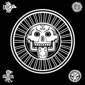 Fotografia Teschio stilizzato. Dio pagano della morte. Motivi dellarte Native American Indian. Design etnico, boho chic, tribale simbolo. Illustrazione di vettore: il disegno bianco isolato su sfondo nero