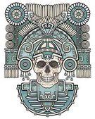 Fotografia Teschio stilizzato. Dio pagano della morte. Motivi dellarte Native American Indian. Illustrazione di colore di vettore isolato su sfondo bianco. Design etnico, boho chic. Stampa, tessuti di poster, t-shirt,