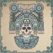 Fotografia Teschio stilizzato. Dio pagano della morte. Motivi dellarte Native American Indian. Illustrazione di colore di vettore, sfondo - imitazione di vecchia carta. Design etnico, boho chic. Stampa, tessuti di poster, t-shirt,