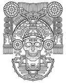 Fotografia Teschio stilizzato. Dio pagano della morte. Motivi dellarte Native American Indian. Illustrazione di vettore: la silouette nera isolata su sfondo bianco. Essere utilizzato per libro da colorare. Stampa, poster, t-shirt