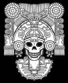 Fotografia Teschio stilizzato. Dio pagano della morte. Motivi dellarte Native American Indian. Illustrazione di vettore: la silhouette bianca isolata su sfondo nero. Design etnico, boho chic. Stampa, poster, t-shirt