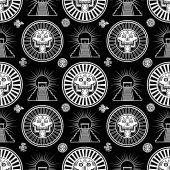 Fotografia Modello monocromatico senza cuciture da elementi decorativi basato sui motivi dellarte Native American Indian. Teschio stilizzato. Dio pagano della morte. Piramide messicana. Illustrazione di vettore